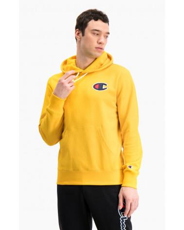 """Sweat à capuche logo écusson """"C"""" brodé Champion Rochester 1919 - vue de face - couleur jaune"""