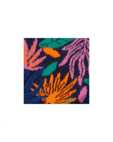 Chaussettes Léana et Arthur, inséparables grâce au bouton en bois, motif d'algues fond marin, shop New Surf à Dinan, Bretagne