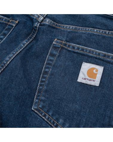 Pantalon Jean Pontiac Carhartt, détail poche arrière avec étiquette logo, shop New Surf à Dinan, Bretagne